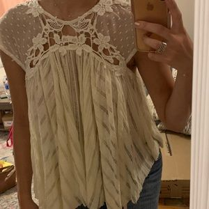 Free people cream lace top